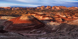 Utah photos, Capitol Reef National Park, Capitol Reef National Park Photos, Bentonite hills, sunrise, panorama,panoramas orange, pink, desert, desert southwest