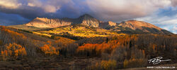 Colorado, Colorado Mountain Photos,Panorama, Fall Foliage, Fall colors, Autumn, Autumnal, picture, image, photographs, San Juan National Forest,stormy,clouds, gold, yellow