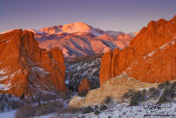 Pikes Peak picture,Red Rocks photo, mountain picture, Garden of the Gods Photos,Snowy,Sunrise image, Mountain,Colorado