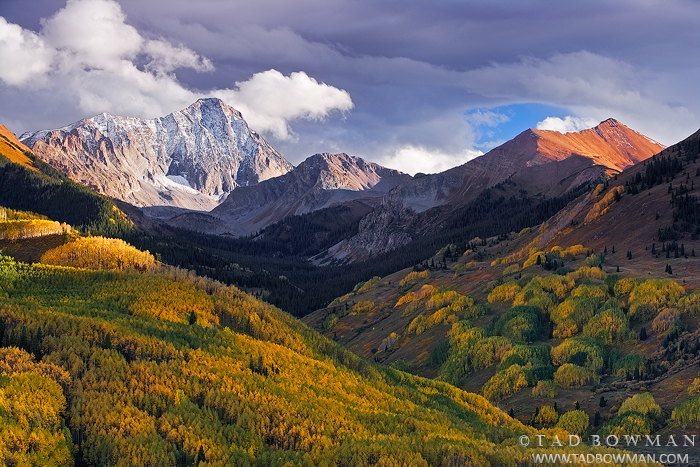 Colorado pictures,Fall,Capitol Peak photos,Evening,snow,snow capped,clouds,orange,fall, fall colors,White River National Forest,aspen, photo