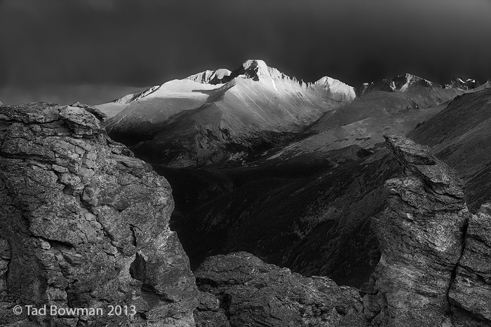 Longs Peak Photos, Long's Peak pictures,Colorado mountain, sunset image, Rocky Mountain National Park pictures,black and white, photo