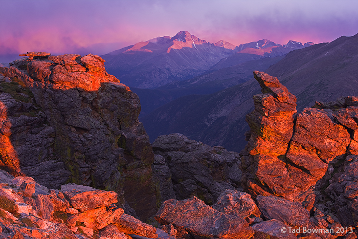 Longs Peak Photos, Long's Peak pictures,Colorado mountain, sunset image, Rocky Mountain National Park pictures,red, photo