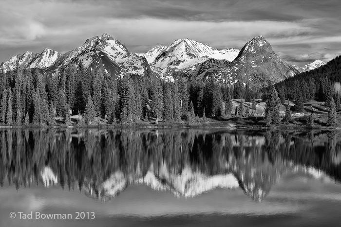 Molas Lake photos,Colorado image,Grenadier Range images, mountain picture,mountains pictures,black&white,reflections,Molas Lake pictures, photo