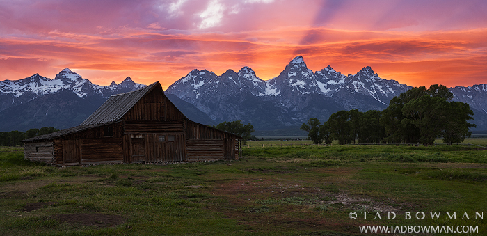 Tetons,Grand Tetons,National Park,Sunset,Brilliant, clouds,Moulton Barn photos,Mormon Row pictures,Antelope Flats,Buck Mountain,barn images, photo