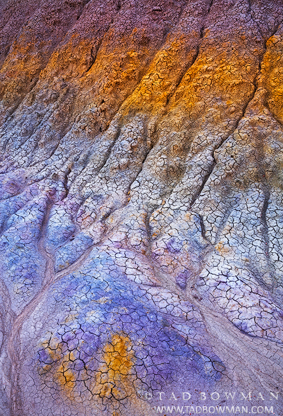 Arizona, desert, arid, clay, patterns, bentonite hills photo, bentonite hills photos, bentonite hills pictures, abstract, abstracts,blue, purple, yellow,southwest, photo