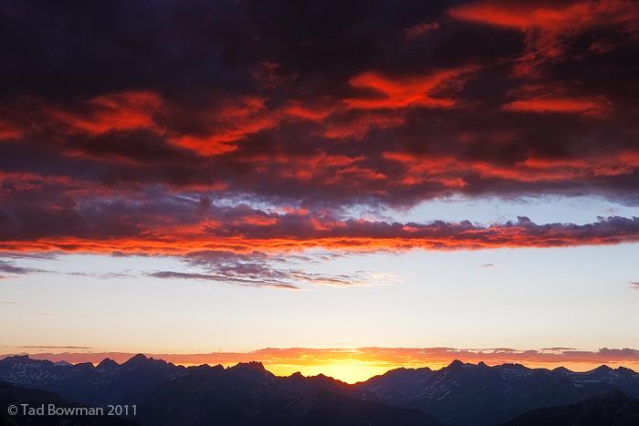 Colorado photos, Sunset, Mountain photos, Mountains, Red, Photograph,Uncompahgre National Forest,San Juan Mountain Skyline, photo