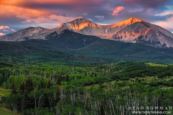 Colorado, sunrise,orange,clouds,mountain photo,photography, images,pictures, summer Mount Sopris photos,mt. sopris, photo