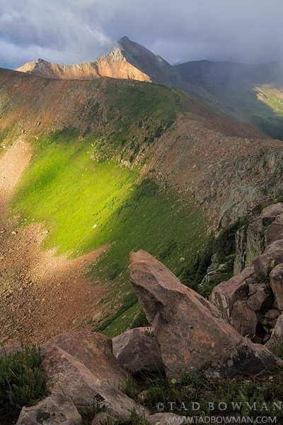 Colorado, La Plata Mountains, stormy, sunrise, Diorite Peak photo, summer, mountain pictures, mountain images