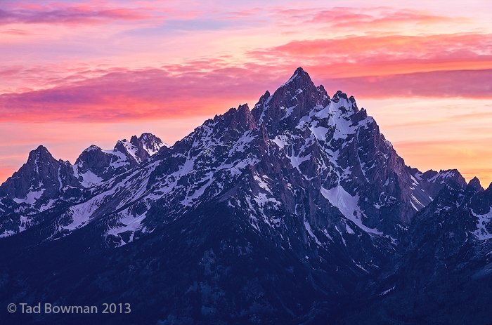 Cathedral Group pictures,Sunset images,Wyoming,pink,National Park,spring,Grand Tetons photos, photo