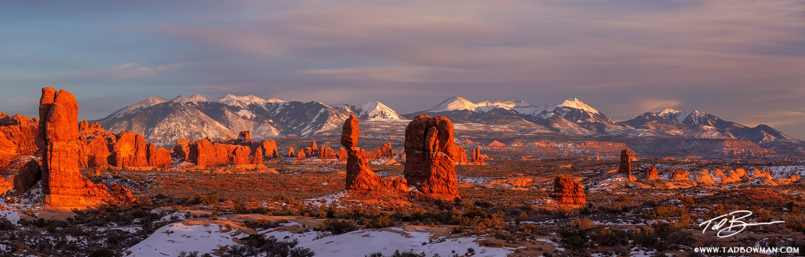 Utah,Arches National Park photos,Sunset,Snowy,La Sal Mountains,Winter,balance rock,orange,pano,panos,panorama,panoramas,Moab,desert,southwest,colorado plateau,arches pictures, photo