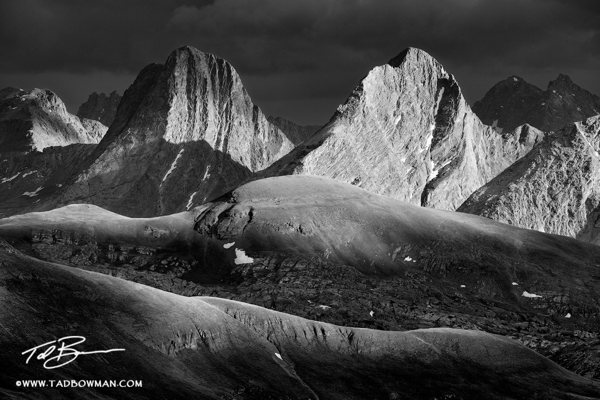 Colorado photos,Weminuche Wilderness pictures,Arrow Peak photos,Vestal Peak photos,Grenadier Range image,Mountain,Sunset,colorado mountain photos, black and white, photo
