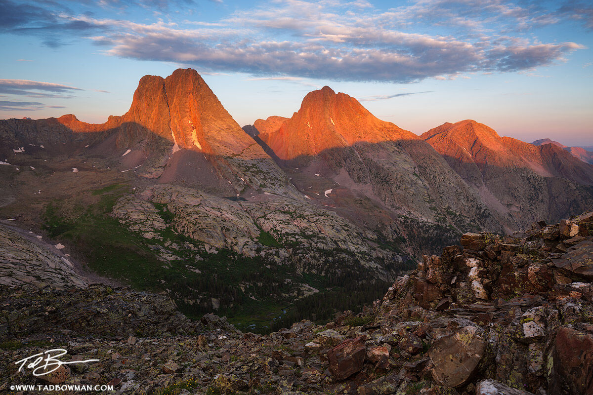 This Colorado mountain photo depicts sunrise with warm light on a portion of the Grenadier Range (Arrow, Vestal, and Electric...