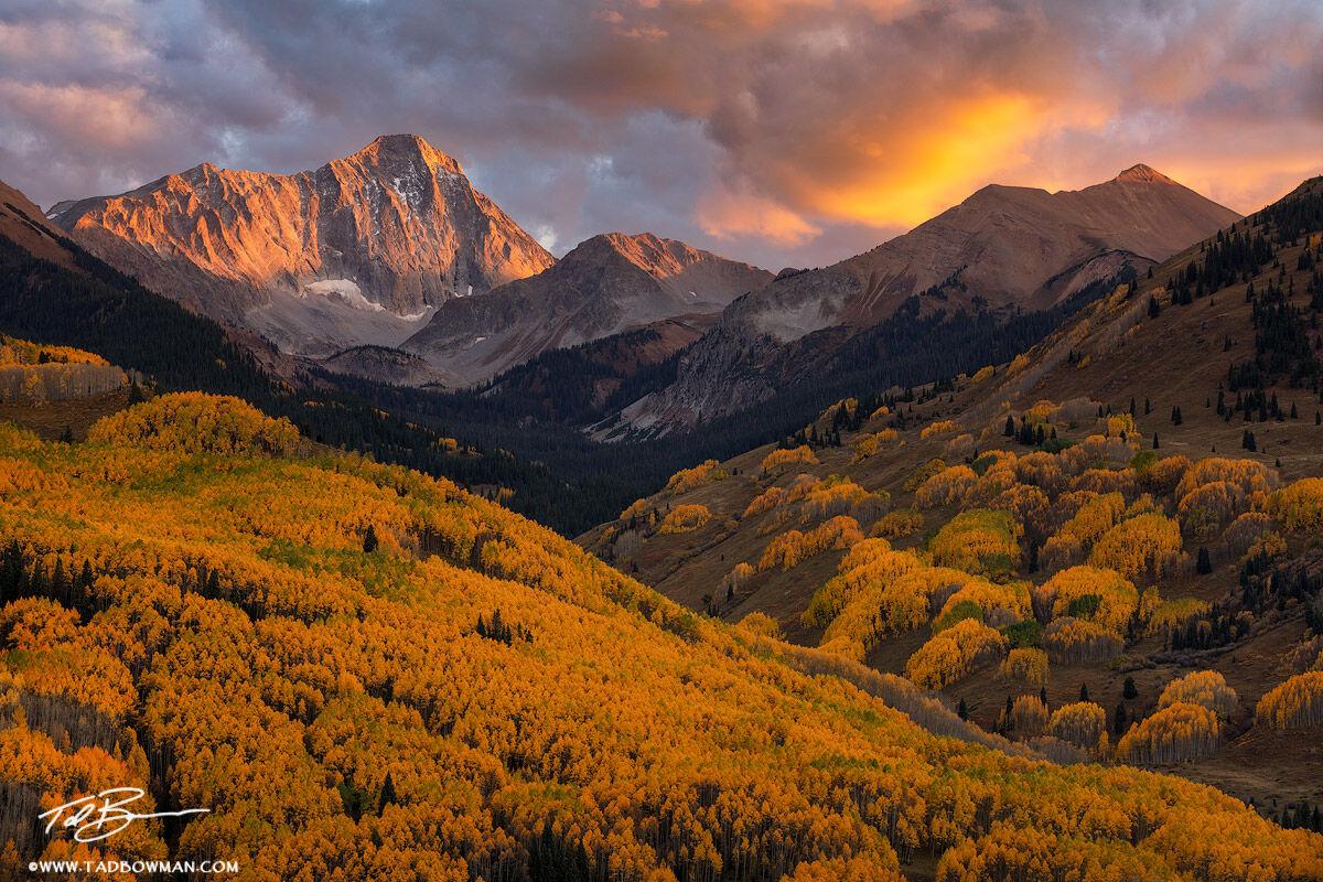 Colorado,Capitol Peak,Capitol Peak Photos,Colorado Mountain Photos,Sunset, colorful,Colorado Fall photos,autumn,foliage,orange,White River National Forest,Elk Mountains, Mountain Photos,images,picture, photo