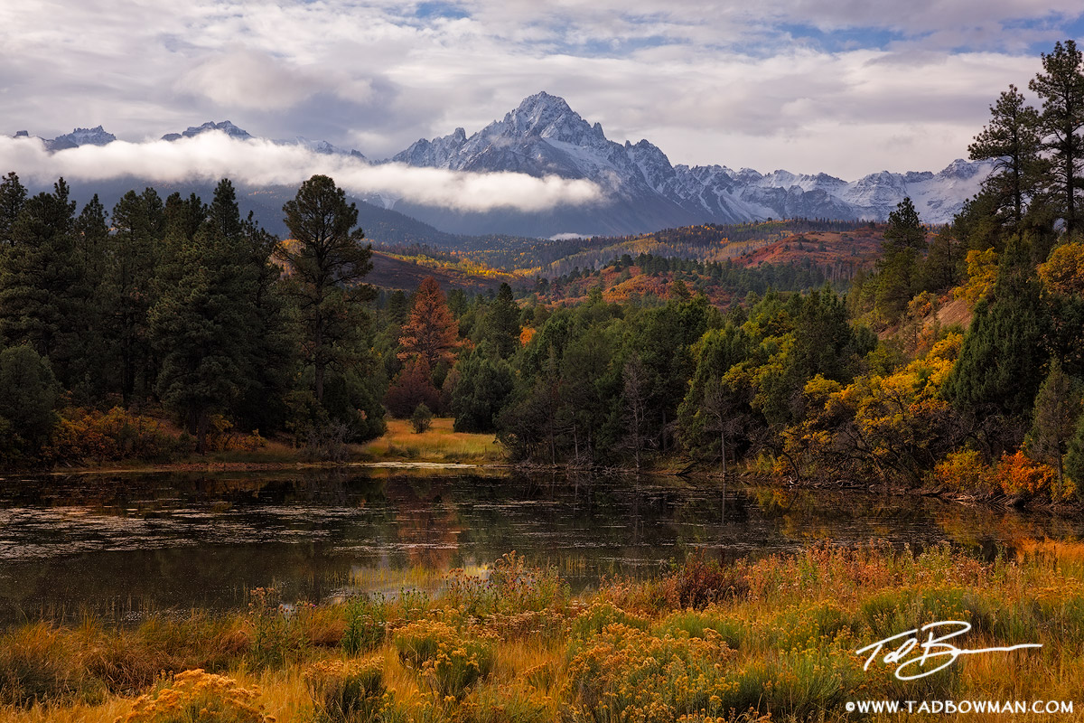Colorado,Mount Sneffels Photos,Colorado Mountain Photos,snow,clouds,cloudy,fall foliage,fall colors,uncompahgre national forest,mount sneffels wilderness, photo