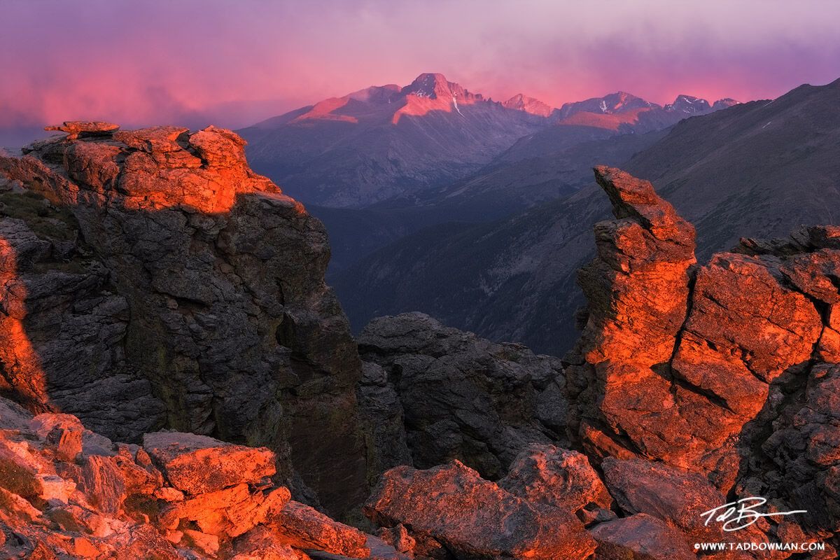 This Colorado mountain picture depicts sunset on Longs Peak in the Rocky Mountain National Park.
