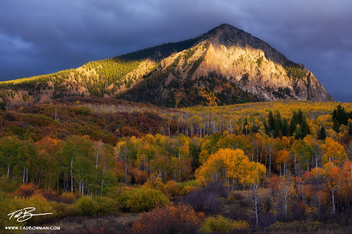This Colorado mountain photo depicts gold light filtering through the clouds on Marcellina Mountain with colorful fall foliage...