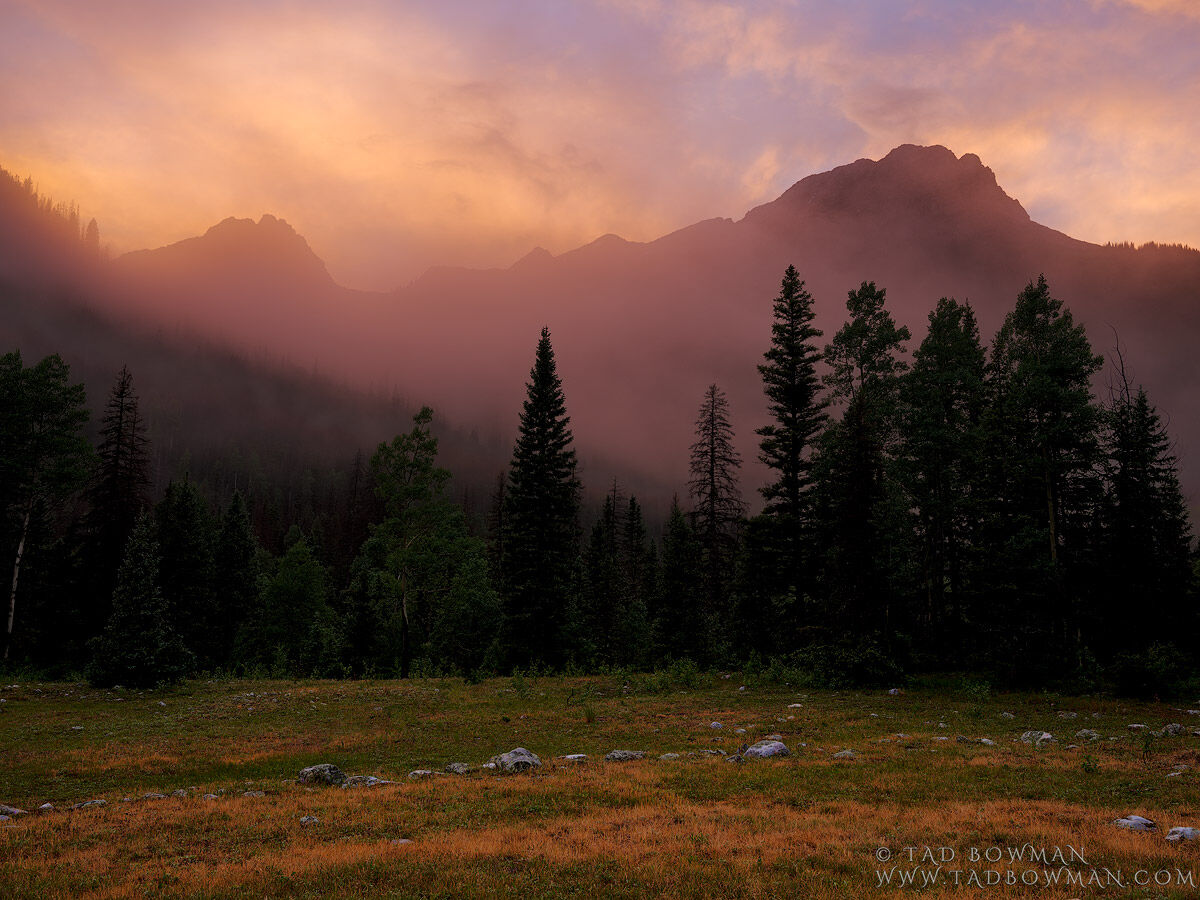 Colorado, Vallecito Mountain, Mountain, Colorado Mountain Photos, mountains, pictures, sunset, misty, dramatic, weminuche wilderness, san juans,fog, foggy,, photo