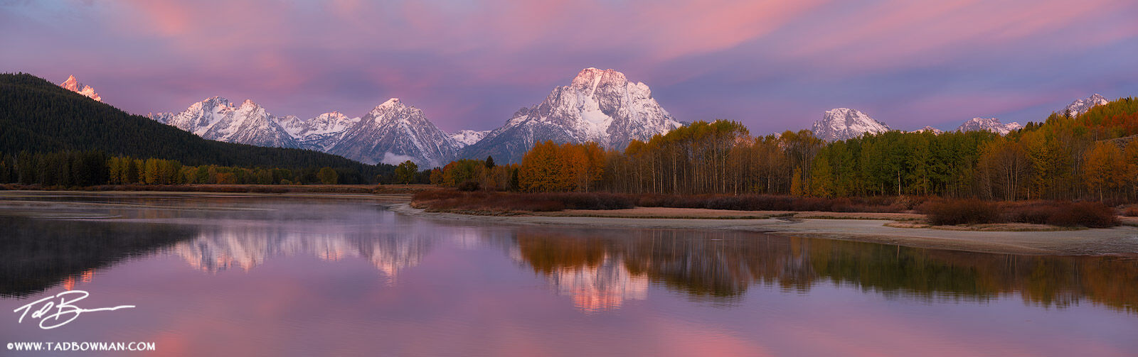 Wyoming, Grand Tetons, Grand Teton photos, Grand Teton fall photos, fall, autumn, fall foliage, Oxbow Bend, sunrise, snow, snowy, Grand Teton National Park Photos, Grand Tetons snow, photo