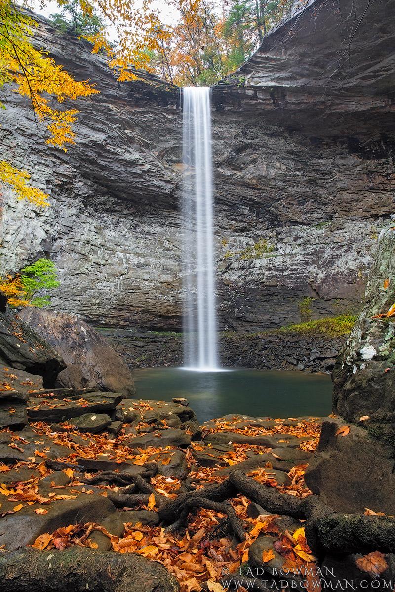 This Tennessee fall photo depicts picturesque Ozone Falls plummeting with colorful fall foliage in the foreground