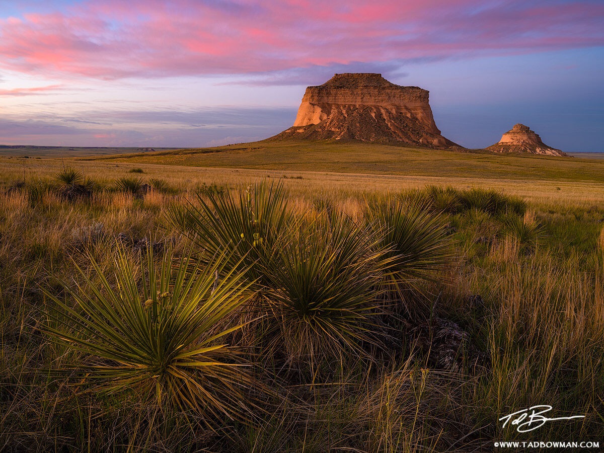 This Colorado prairie photo depicts sunset over the Pawnee Buttes in the Pawnee Butte Grasslands