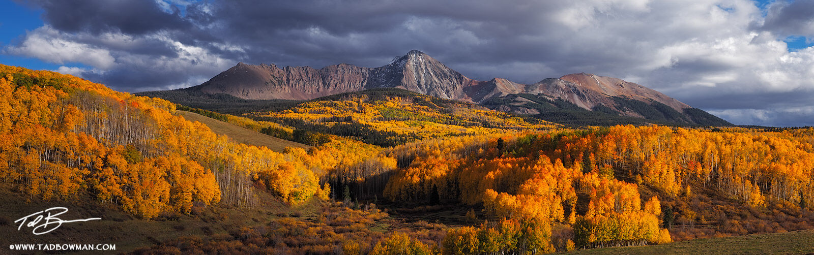Colorado, Colorado Mountain Photos,Panorama, Fall Foliage, Fall colors, Autumn, Autumnal, picture, image, photographs, Uncompahgre National Forest,stormy,clouds, gold, yellow, photo