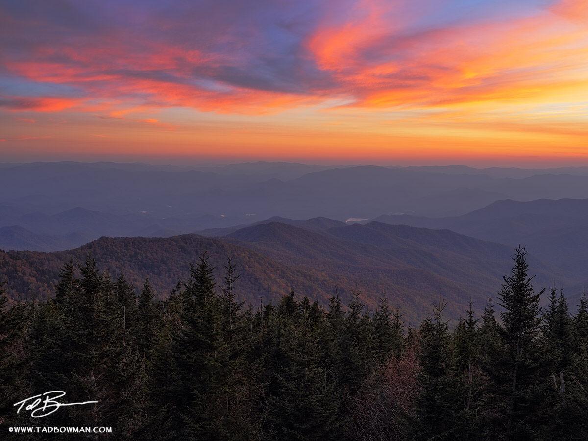 Tennessee, North Carolina, Great Smoky Mountain National Park, Clingman's Dome, Smoky Mountain Photos, Smokies, Sunset, colorful, smoky mountain sunset photos, sunset, photo