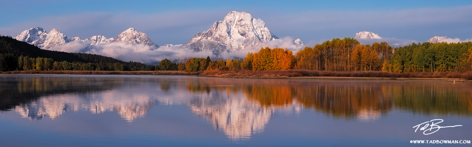 Wyoming, Grand Tetons, Grand Teton photos, Grand Teton fall photos, fall, autumn, fall foliage, Oxbow Bend, sunrise, snow, snowy, Grand Tetons snow, photo