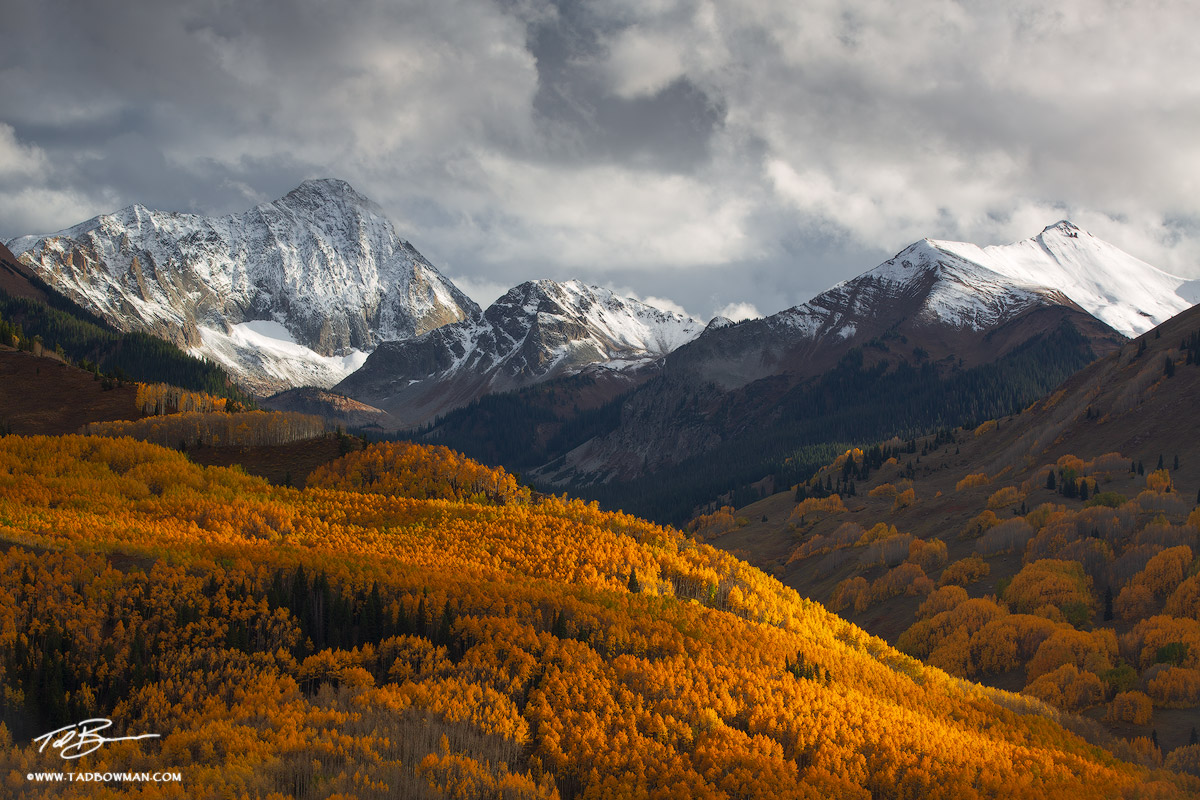 This Colorado mountain photo depicts stormy conditions over Capitol Peak in the White River National Forest.