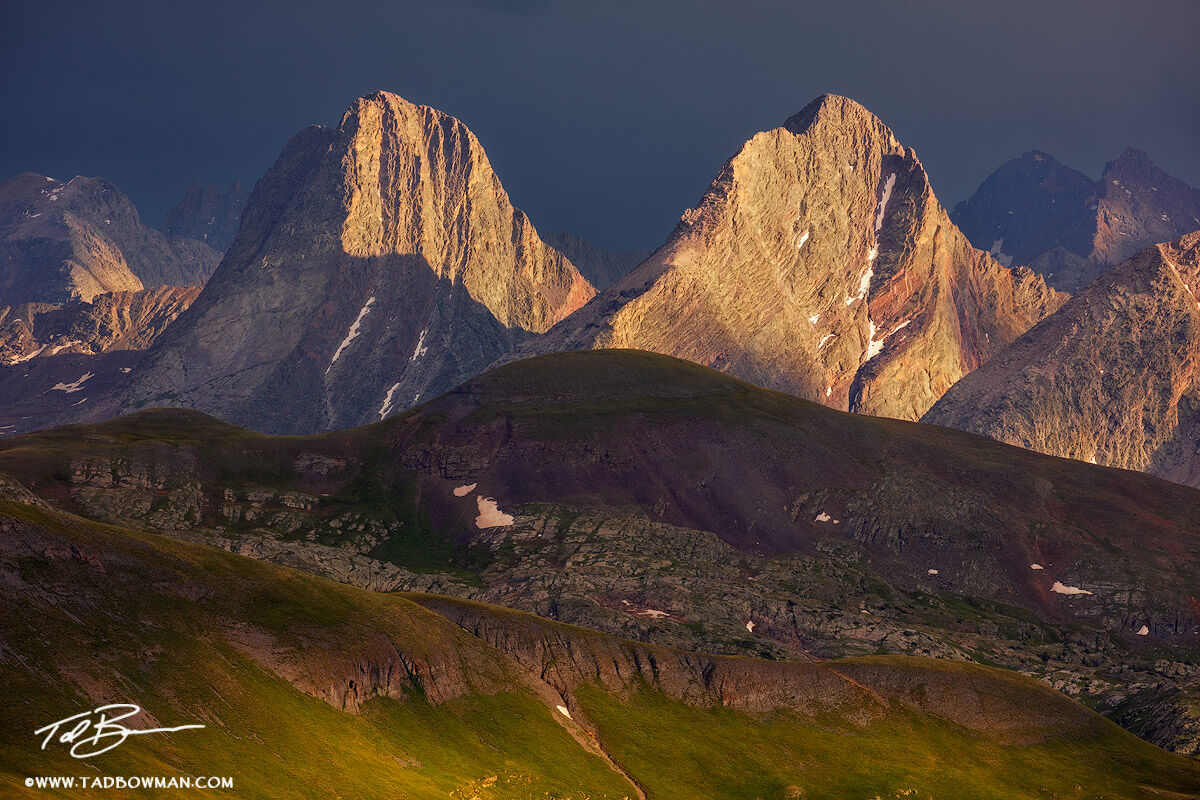 This Colorado mountain photo depicts stormy conditions over Vestal and Arrow peak in the Weminuche Wilderness