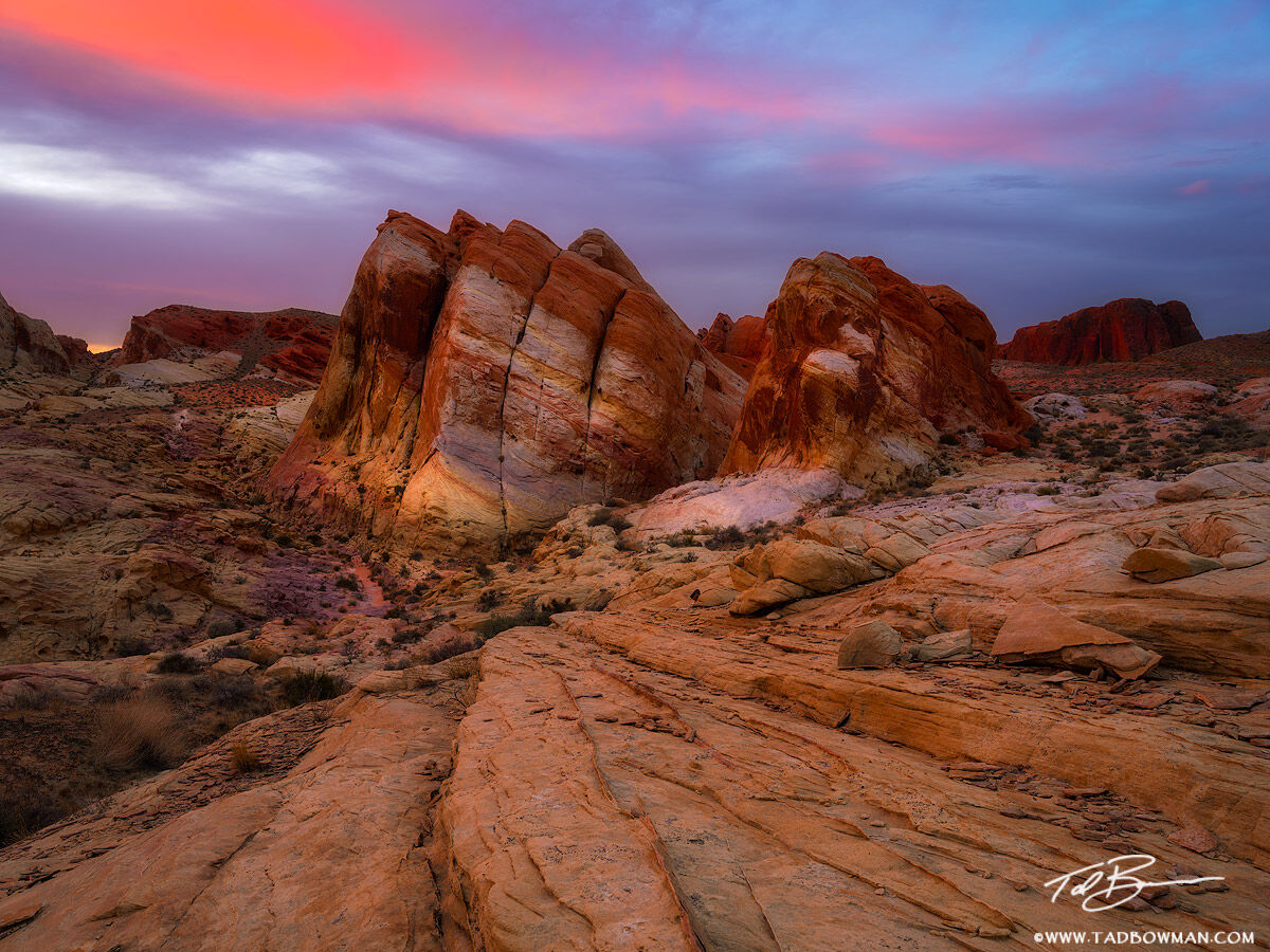 This desert photo depicts sunset over colorful rock formations situated in the Valley of Fire State Park, Nevada