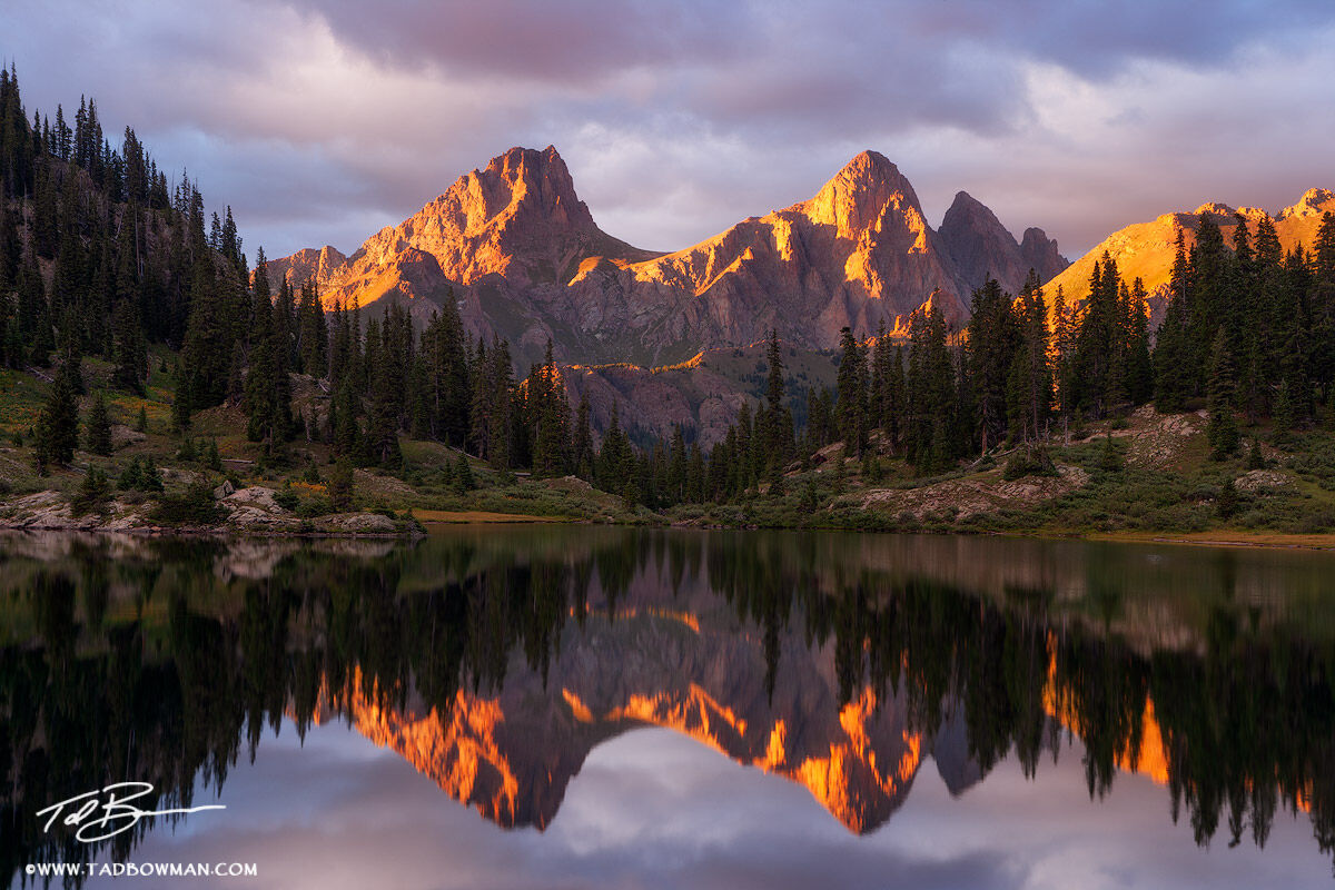 Reflection,Weminuche Wilderness photos,Colorado Mountain images,Colorado Mountains,Needles,Turret Peak photos,Pigeon Peak photos, photo