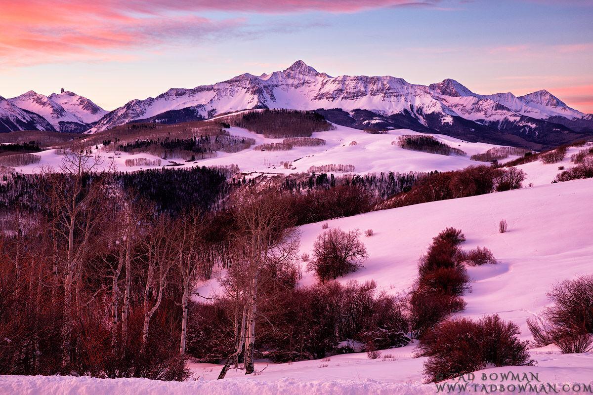Colorado, Telluride,Wilson Peak, Lizard Head Peak, San Juan, Uncompahgre National Park, Snow, Snowy, snow capped, sunrise, pink, winter, photo